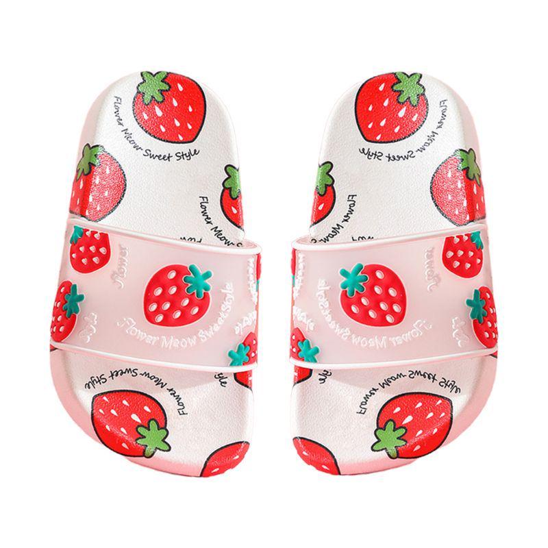 Kids Girls Summer Slide Sandals Cute Cartoon Fruit Slippers Anti-Slip Water Shoe