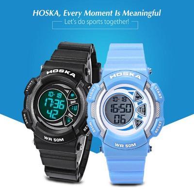 e62330a517c9 HOSKA H020S niños LED Digital reloj 5ATM día fecha pantalla reloj de ...
