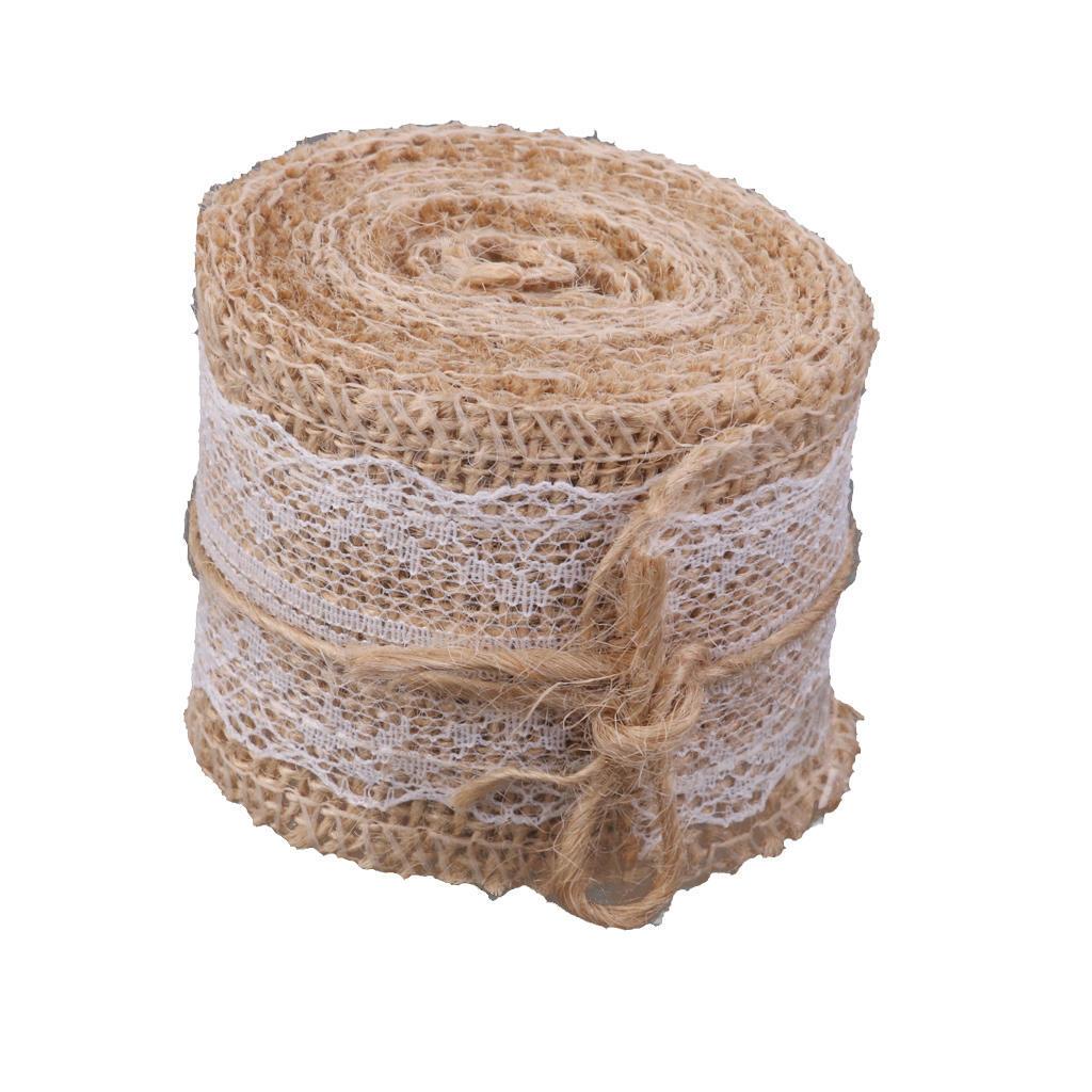 5M Vintage Natural Woven Rope Burlap Ribbon DIY Craft Wedding Party Decor 1 Roll