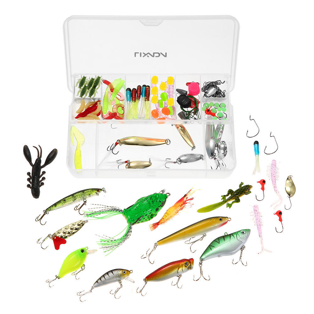 106pcs Fishing Lures Kit Mixed Crankbaits Hooks Minnow Bass Baits Tackle Box