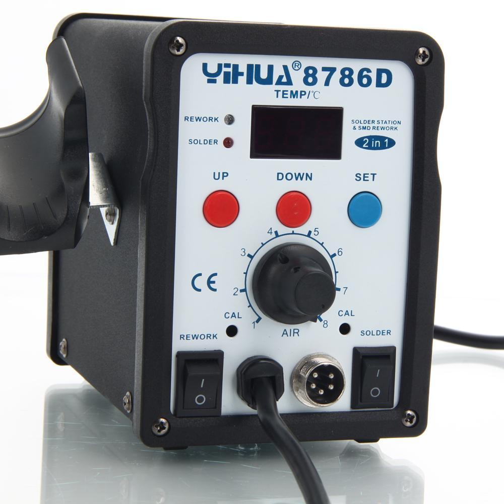 YiHUA-8786D 2in1 110V Soldering Station Hot Air Gun Soldering Iron Kit 3 Nozzles