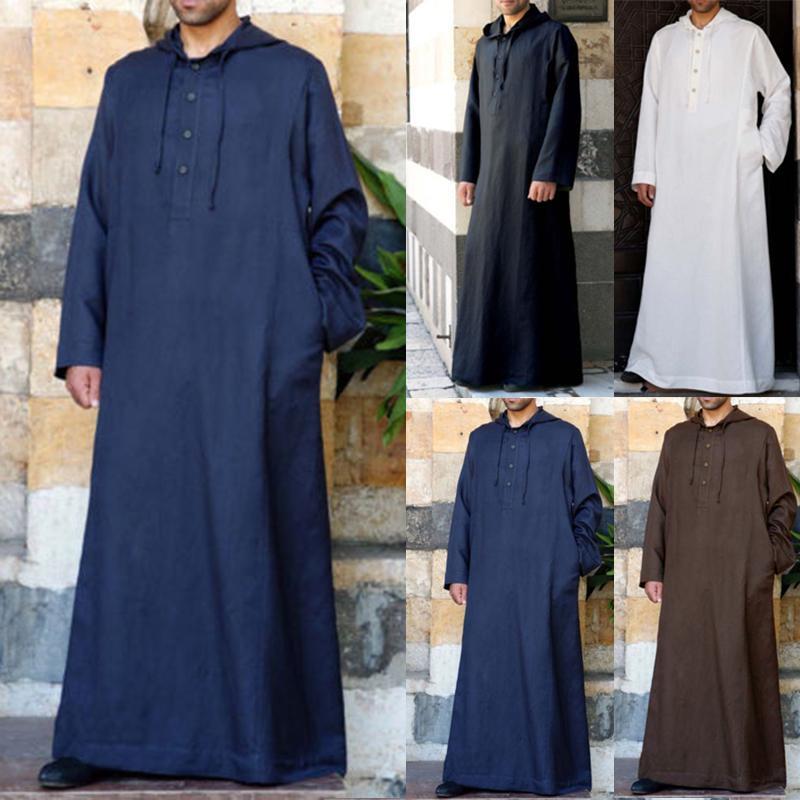 Men/'s Long Sleeve Saudi Jubba Kaftan Vintage Floral Long Thobe Dress Kaftan Robe
