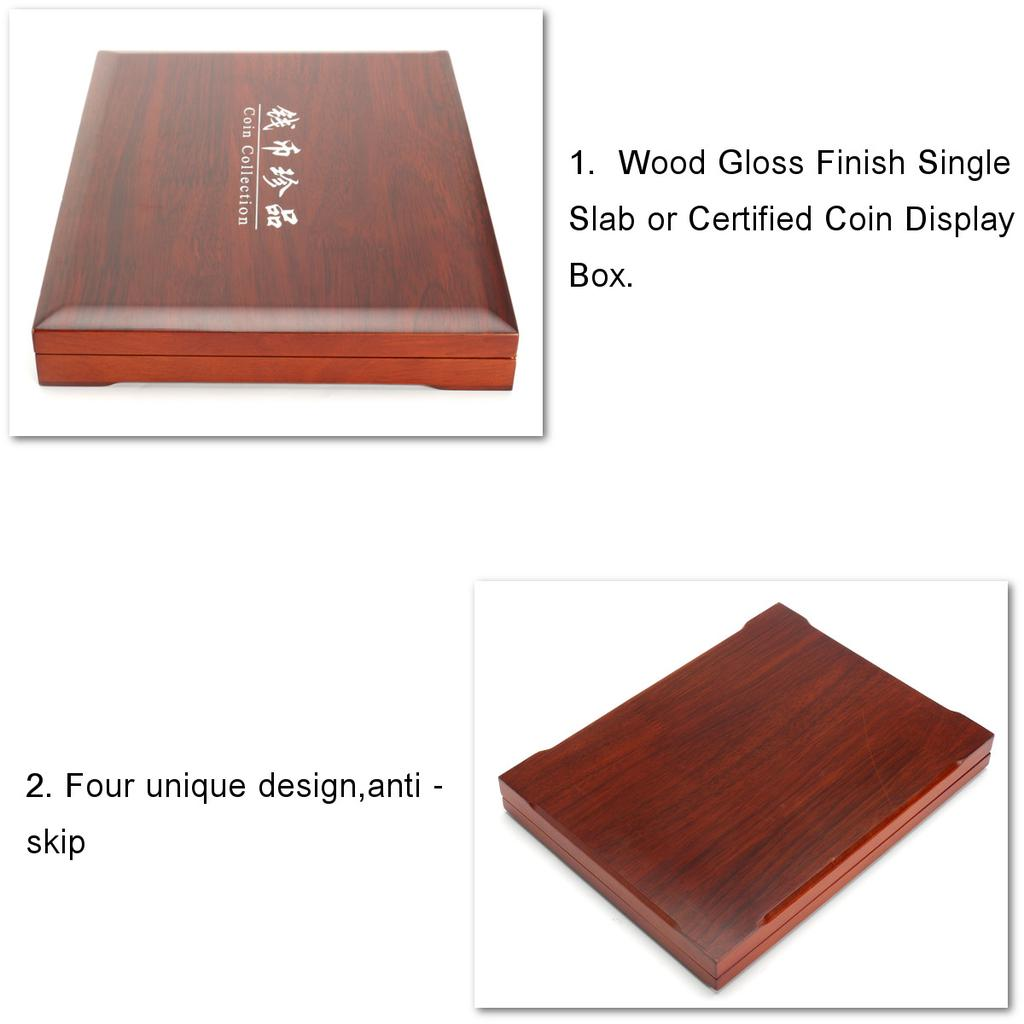 Oak Rectangle Case Wood Show Box Storage Collection Holders For 6Pcs 52mm Coins
