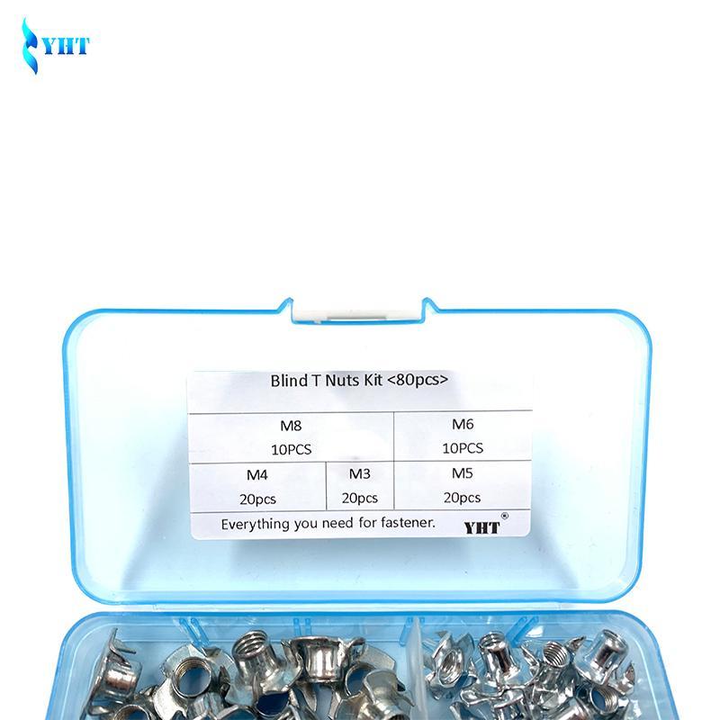 80PCS M3 M4 M5 M6 M8 M10 Claw Type Nut Nuts Assortment Kit Set