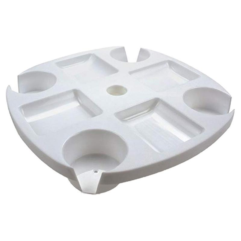 Snack Compartments White Beach Umbrella Table Tray with Cup Holders