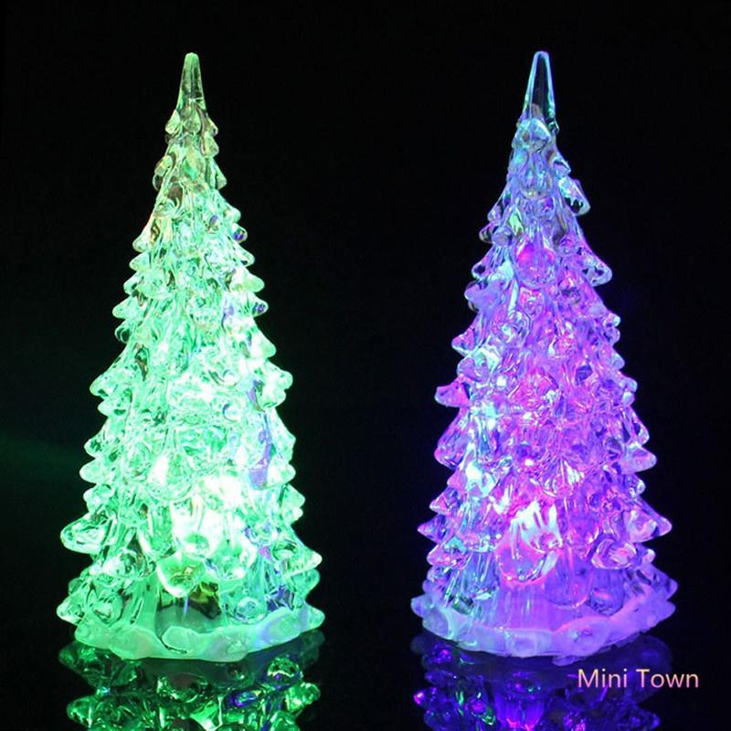 100pcs Christmas Tree Acrylic Crystal Mini Changing Led Night Light Lamp Decoration Kids Toy Children Gift Retail Box Creative Event & Party Glow Party Supplies