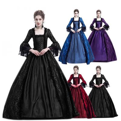 Suda Women Retro Party Princess Cosplay Lace Floor Length Dress