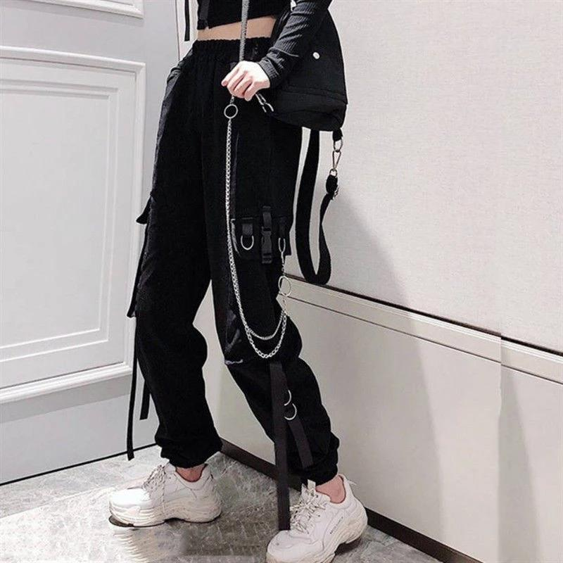 Самая низкая цена онлайн женщин грузовые брюки Пряжка Лента Карманный Джоггер Упругий Waist High Streetwear Harajuku Pant Punk Ring Цепи женщин Брюки – купить по низким ценам в интернет-магазине Joom
