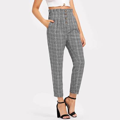 69cb1c70f5 HS Womens Elastic Waist Casual Pants Single Breasted Frill Trim Plaid Pants