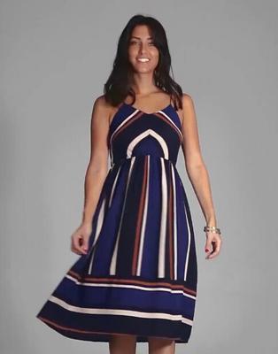 ab2a0eb7dc1 Women Stripes Sleeveless Dress Party Formal Beach Dresses Casual Sundress  Summer