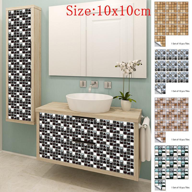 10pcs Mosaic Tile Tiles Decals Bathroom, Tile Decals For Bathroom