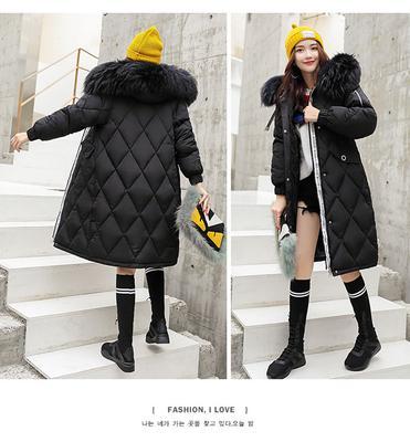 c4ddebd2dd14a Меховой воротник пальто с капюшоном стеганый карман теплой длинный рукав пальто  Зимняя куртка женщин