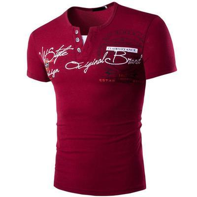 efd7f89381271 Мужская мода случайные короткие v-образным вырезом печатных футболки Сельма