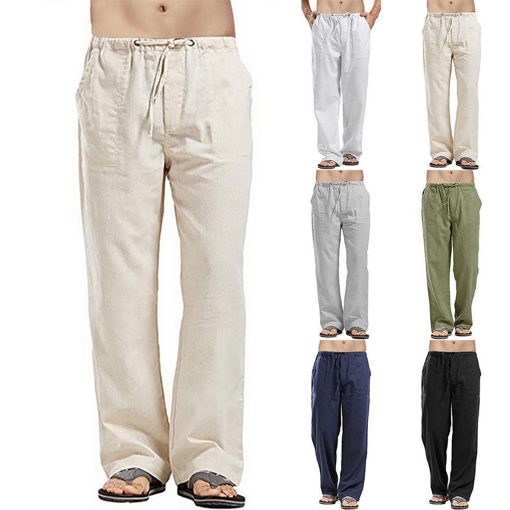 Men Trousers Summer Casual Cotton Linen Elastic Waist Wed Leg Loose Long Pants