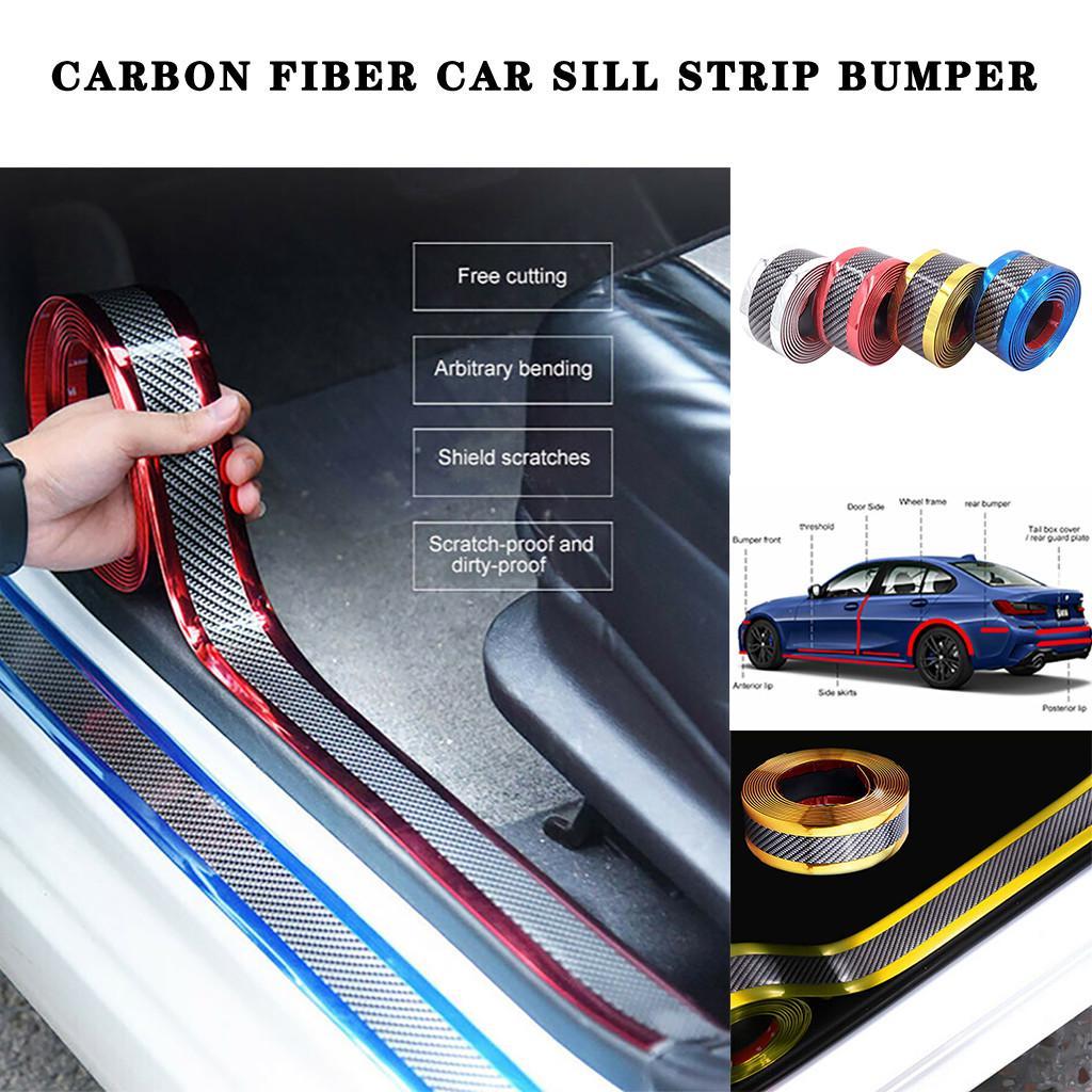 Anti-scratch Car Anti-collision Strip Carbon Fiber Silver Side Skirt Accessories