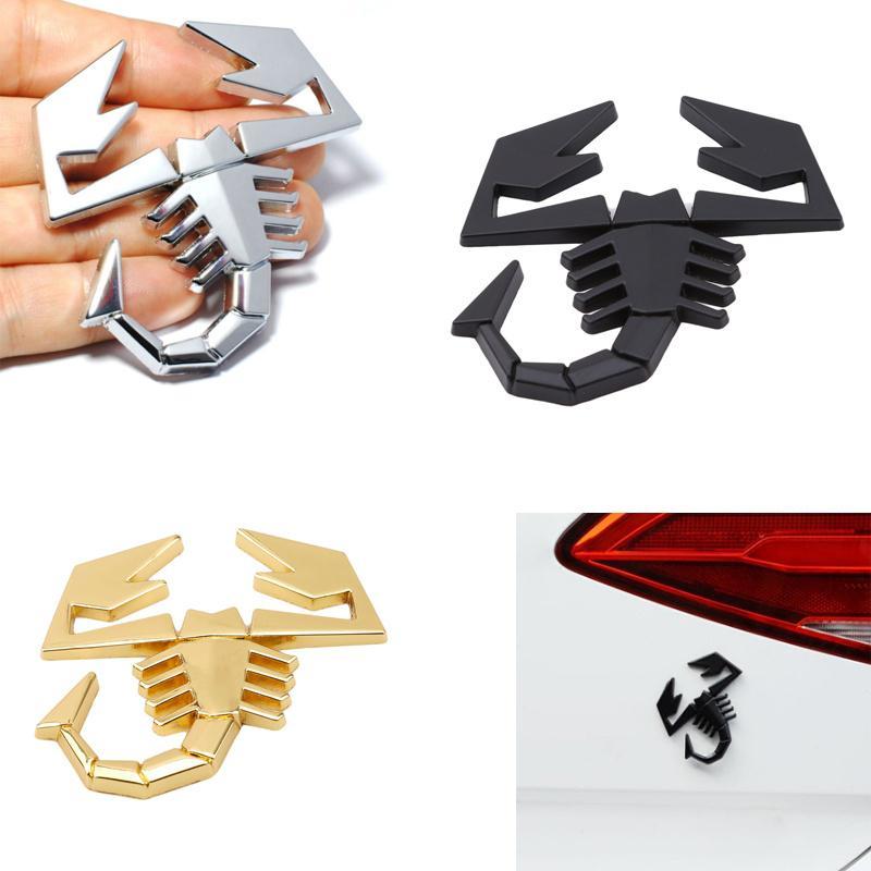 Pair Golden Scorpion Emblem Metal Badge Sticker Decal Turbo Logo New 3D Car Side