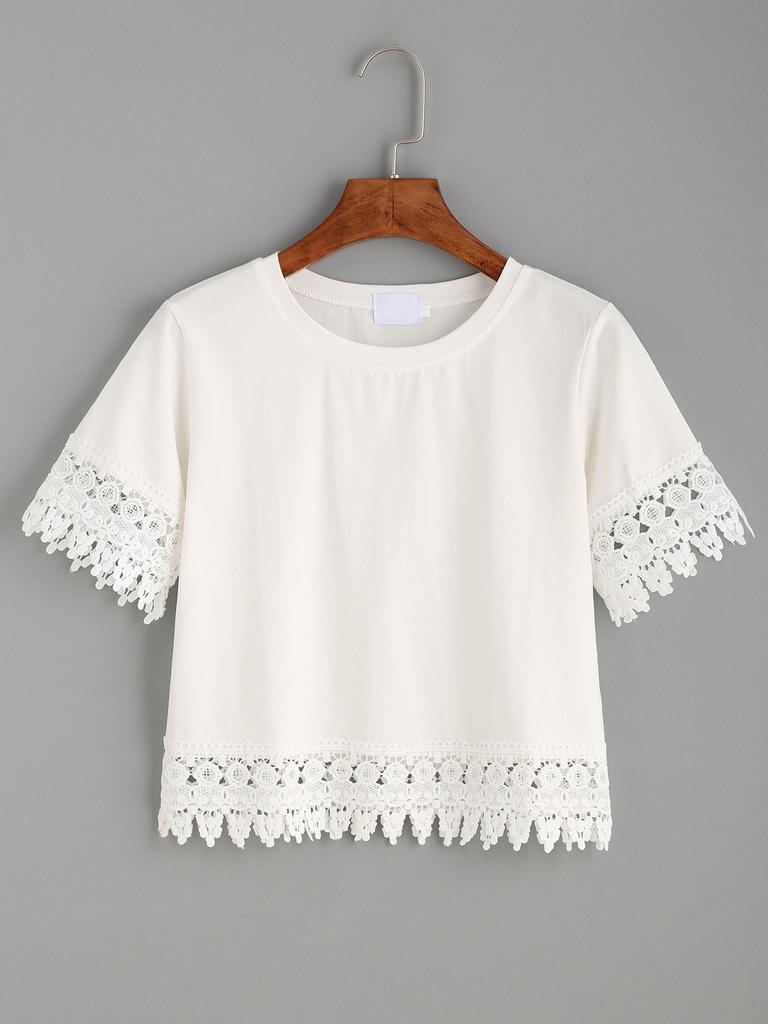 SHEIN Crochet cosecha corte camiseta - comprar a precios bajos en la ...
