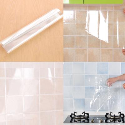 PET Transparent Decals Oil Proof Stickers Kitchen Keep Clean Wall Paper Decor