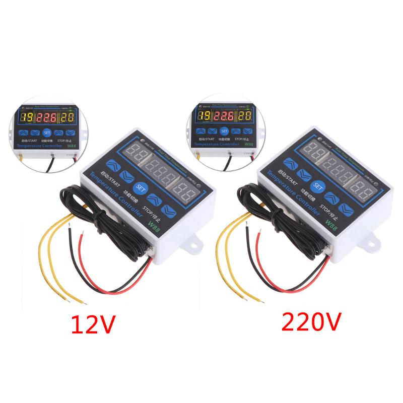 Digital LED Temperature Controller 10A Thermostat Control Switch Probe 12//220V