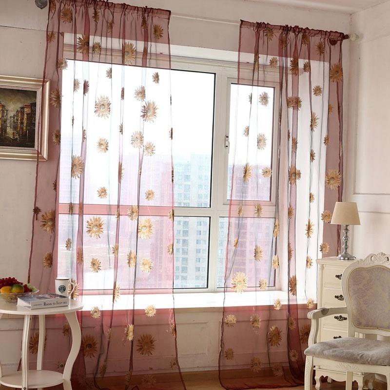 1x2M Sonnenblumen Voile Vorhang Fenster Blume Gardine für Wohnzimmer ...