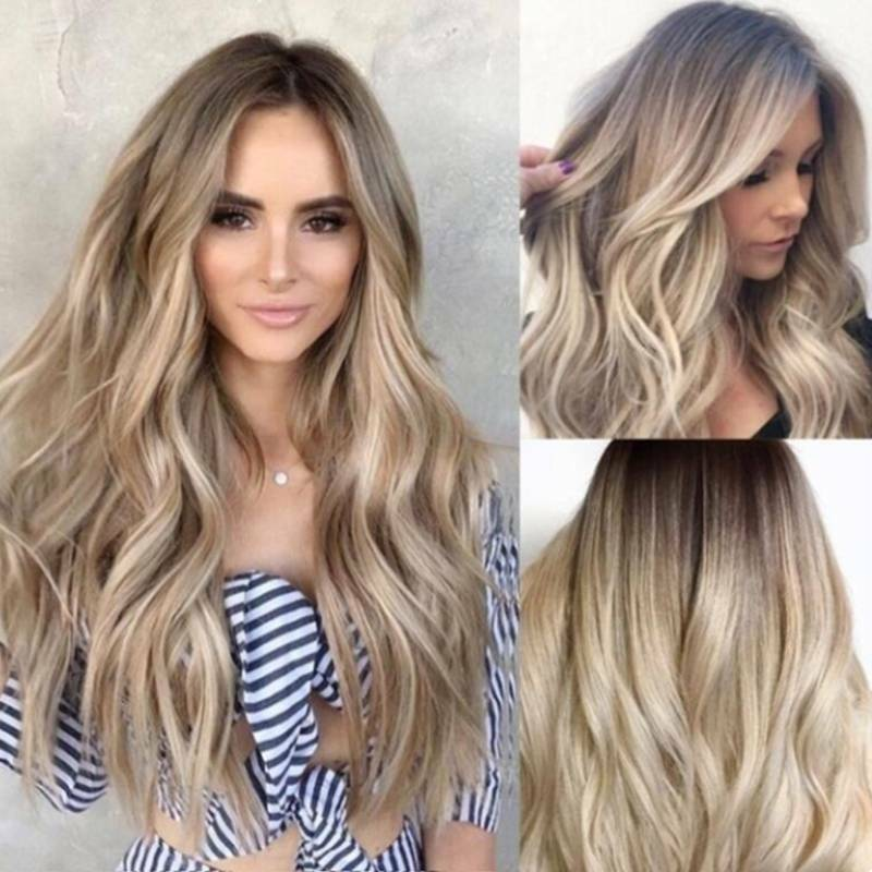 Details about  /Fashion Womens Curly Wavy Hair Wig Brazilian Ladies Ombre Cosplay Full Wig