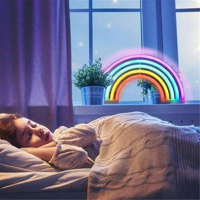 19CM NEON RAINBOW LIGHT LAMP BEDROOM LED NIGHT COLOURFUL USB BATTERY DECORATION