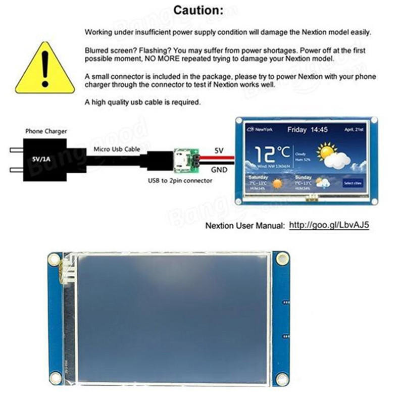3 5 Nextion NX4832T035 HMI TFT LCD Touch 480 x 320 Display Module Resistive  Touch Screen