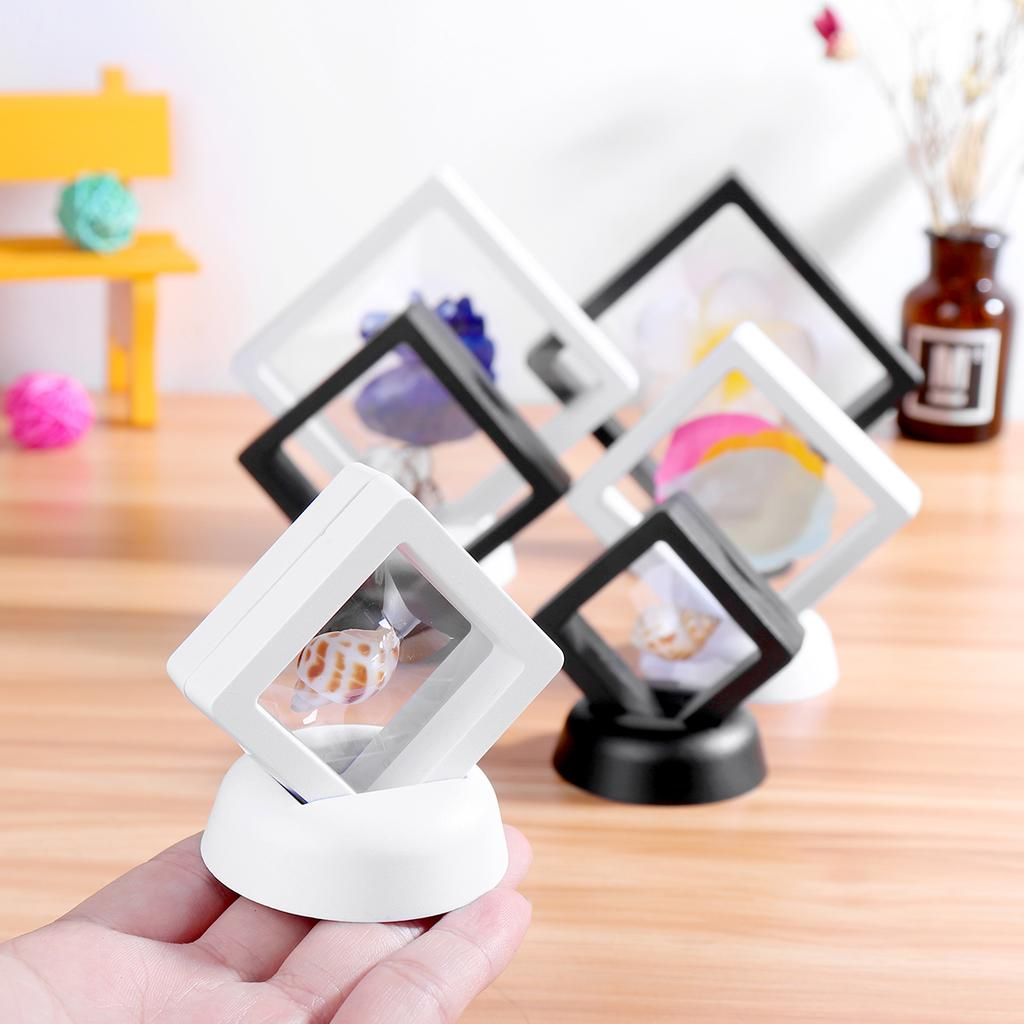 Black White Jewelry Display Show Case Square 3D Albums Floating Frame Holder