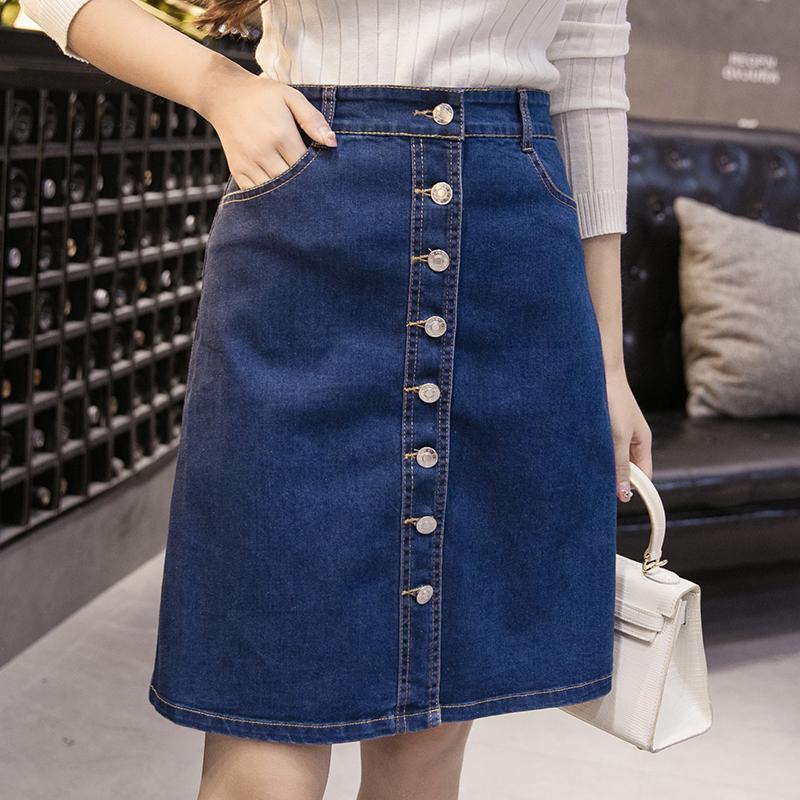 443b3020a5c Джинсовая юбка женщин лето высокой талии синий короткие Single ...