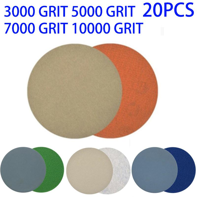 20 Pcs 3 Inch Sand Paper 3000-10000 Grit 4 Type Sand Paper For Precise Polishing