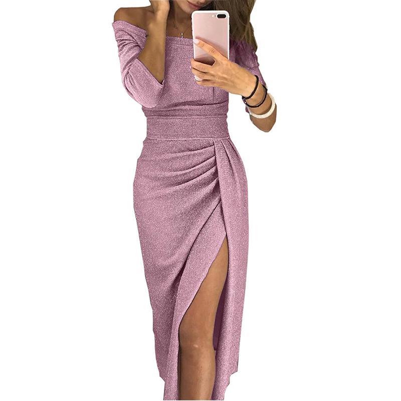 Women Long Sleeve V Neck High Pleated Slit Irregular Hem Bodycon Evening Dress
