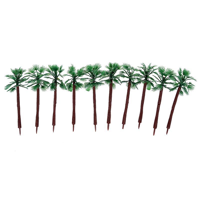 9cm High Scale 1:100 Green Plastic Short Palm Model Tree 10 Pcs AD