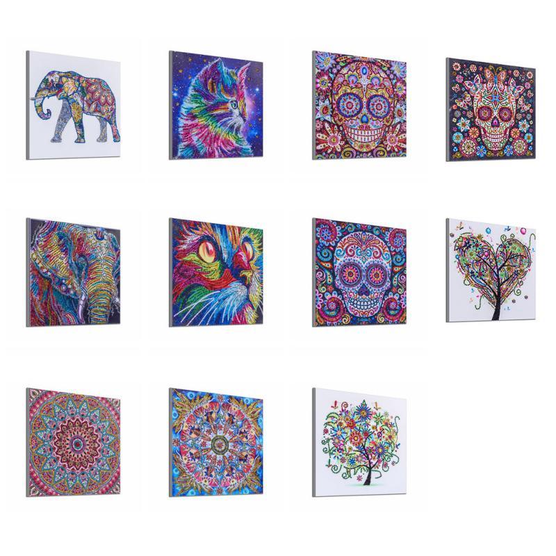 DIY 5D Diamond Mosaic Embroidery Craft Stitch Kit Mural Abstrack Skull Art Mural