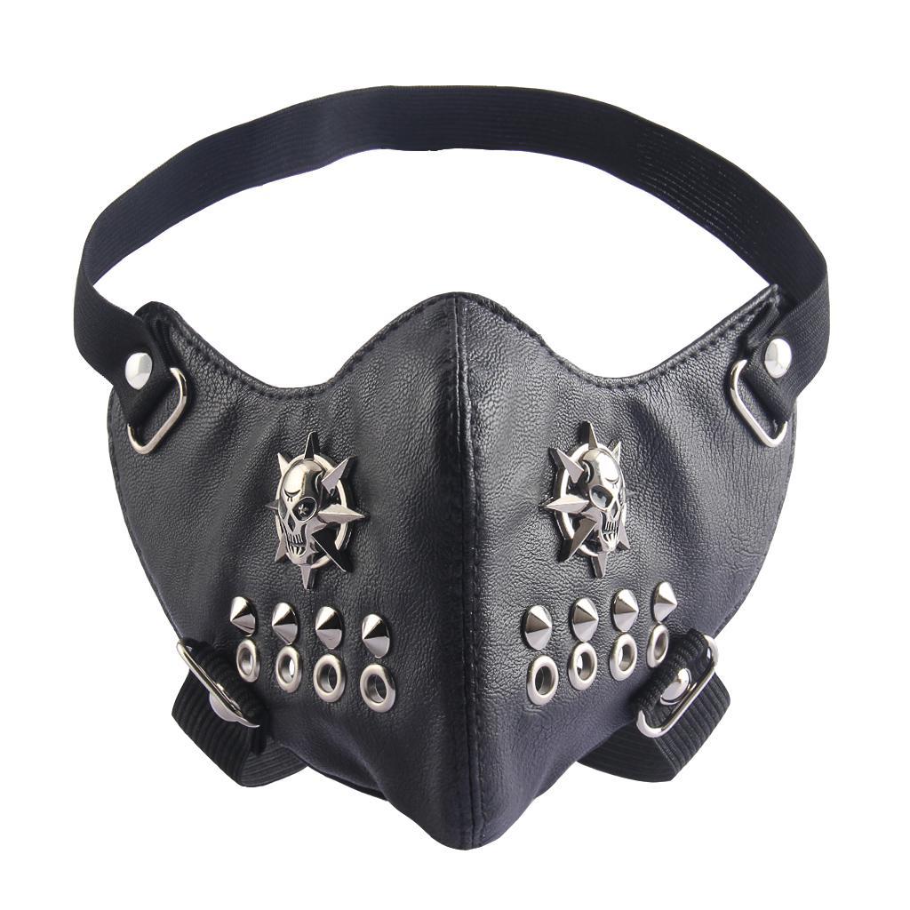 Punk Cosplay Anti-Dust Rivet Face Mask PU Leather Fashion Half Face Mask