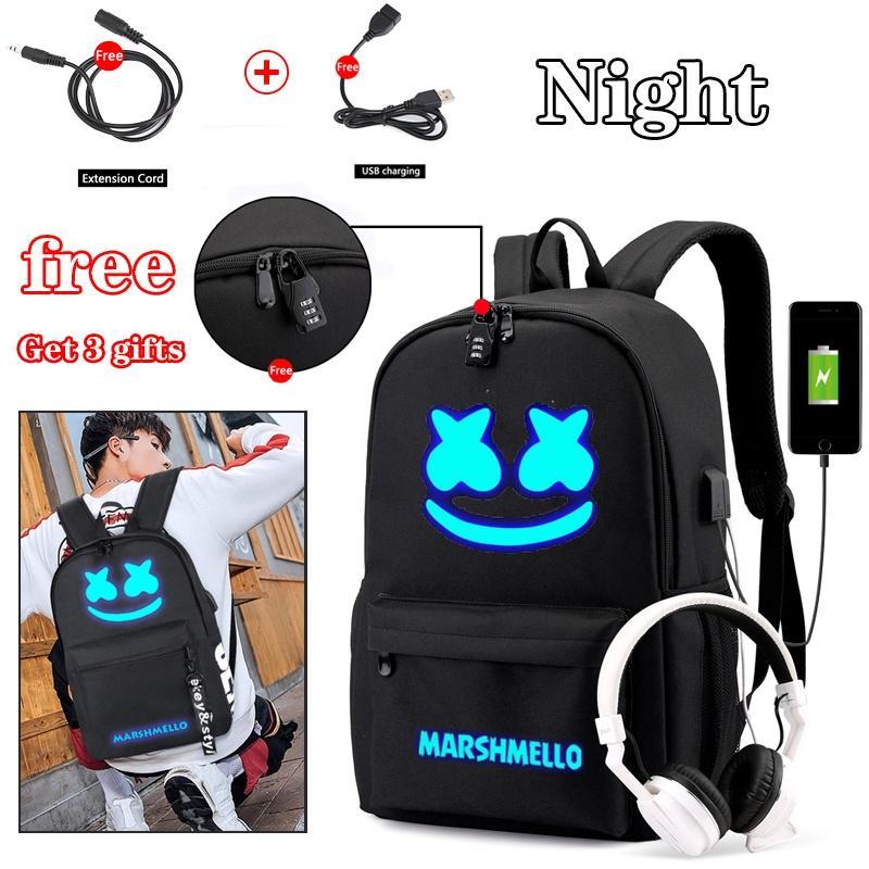 DJ Marshmello Luminous Backpack Unisex Satchel Computer Bag Book bag Knapsack
