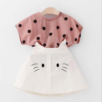 Toddler Kids Girls T-Shirt Short Sleeve Tops Suspender Overalls Skirt 2Pcs Outfits Set