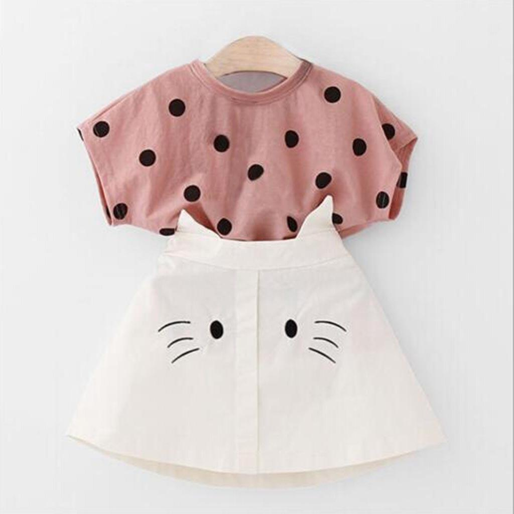 Toddler Infant Baby Girl Outfit Stripe Ruffle Shirt Top Suspender Braces Skirt Headband Clothes Set