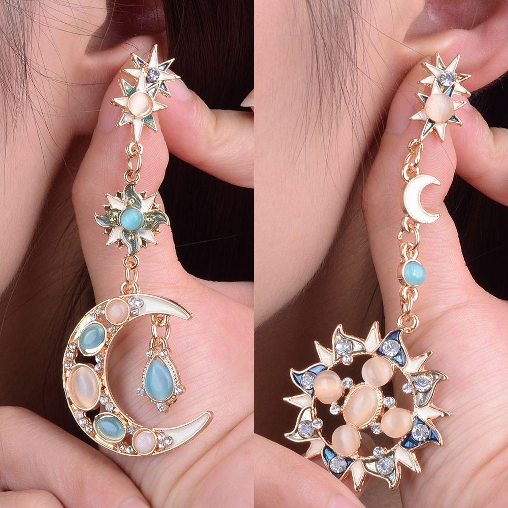 Women Drop Long Elegant Sun and Moon Fashion Earrings Pendant Jewelry Gift