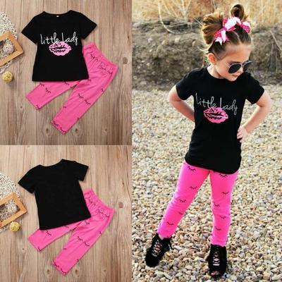 Baby Kids Girls Outfits Clothes T-shirt Tops Dress Long Pants Leggings 2PCS Set