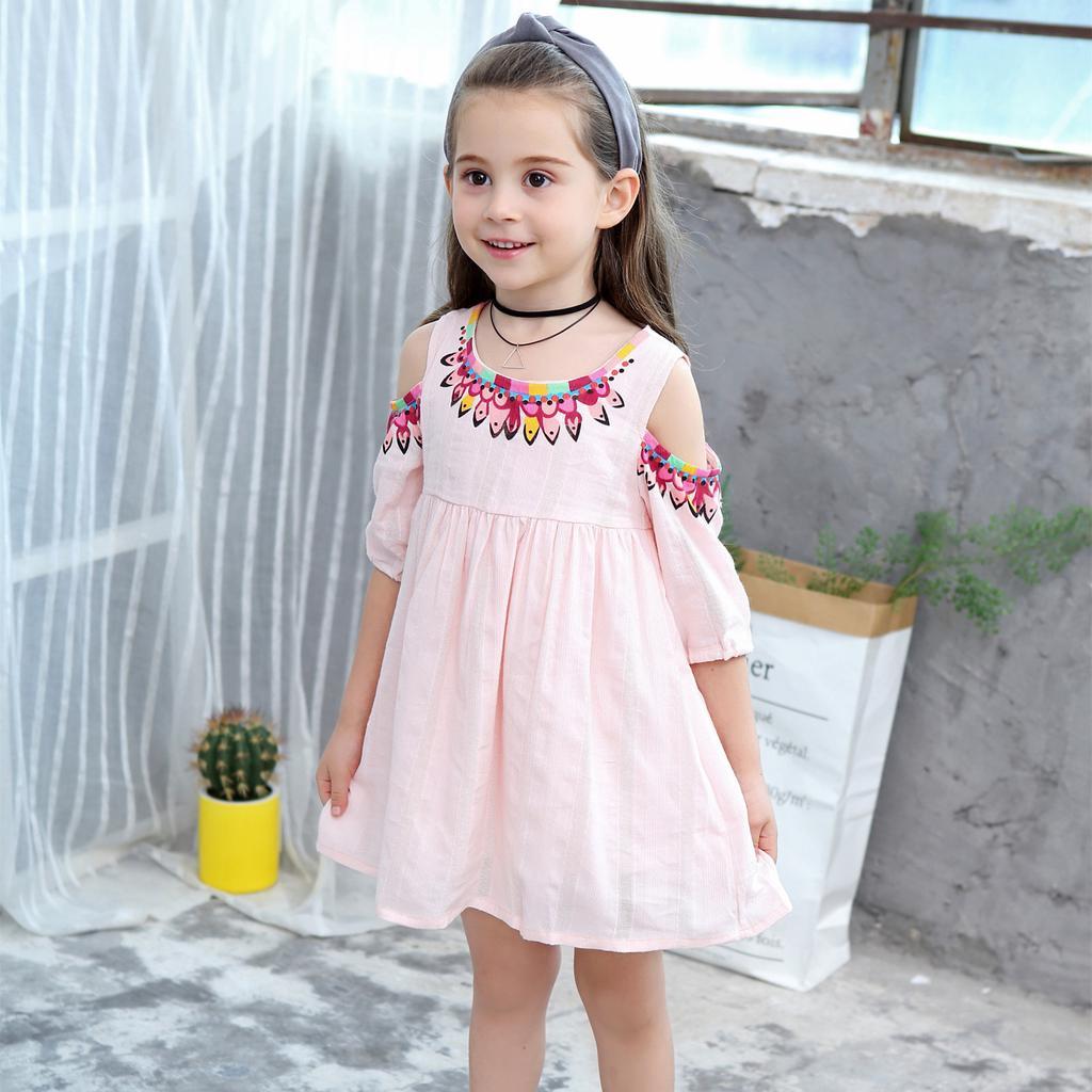 Children Kids Girls Summer Fashion Off Shoulder Cotton Princess Dress