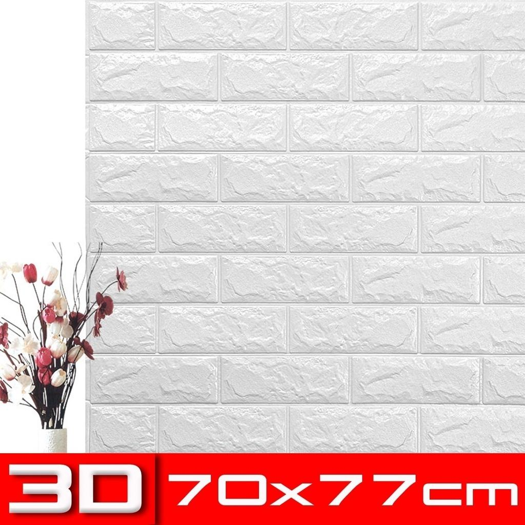 5PCS//Set 70x77cm Self-Adhesive Foam 3D Brick Wall Sticker Wallpaper Panel Decor