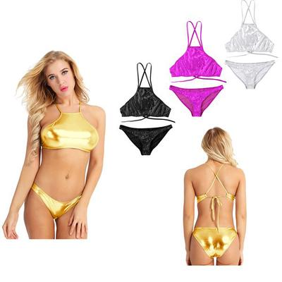 a42c27d547117 Women Shiny Bikini Swimsuit Swimwear Set Halter Neck Strappy Crop Top with  Low Rise Briefs