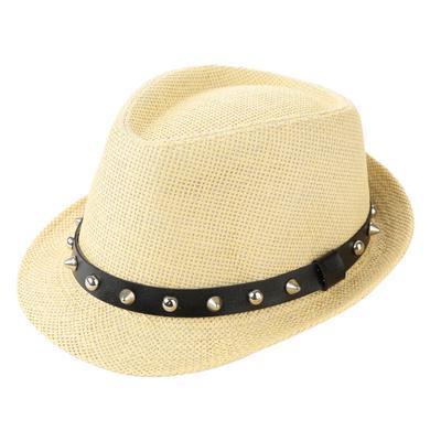 675d345bb0fb7 Fashion Summer Sun Straw Men Women Panama Hat Beach Cap Rivet Belt Fedora  Trilby Hat