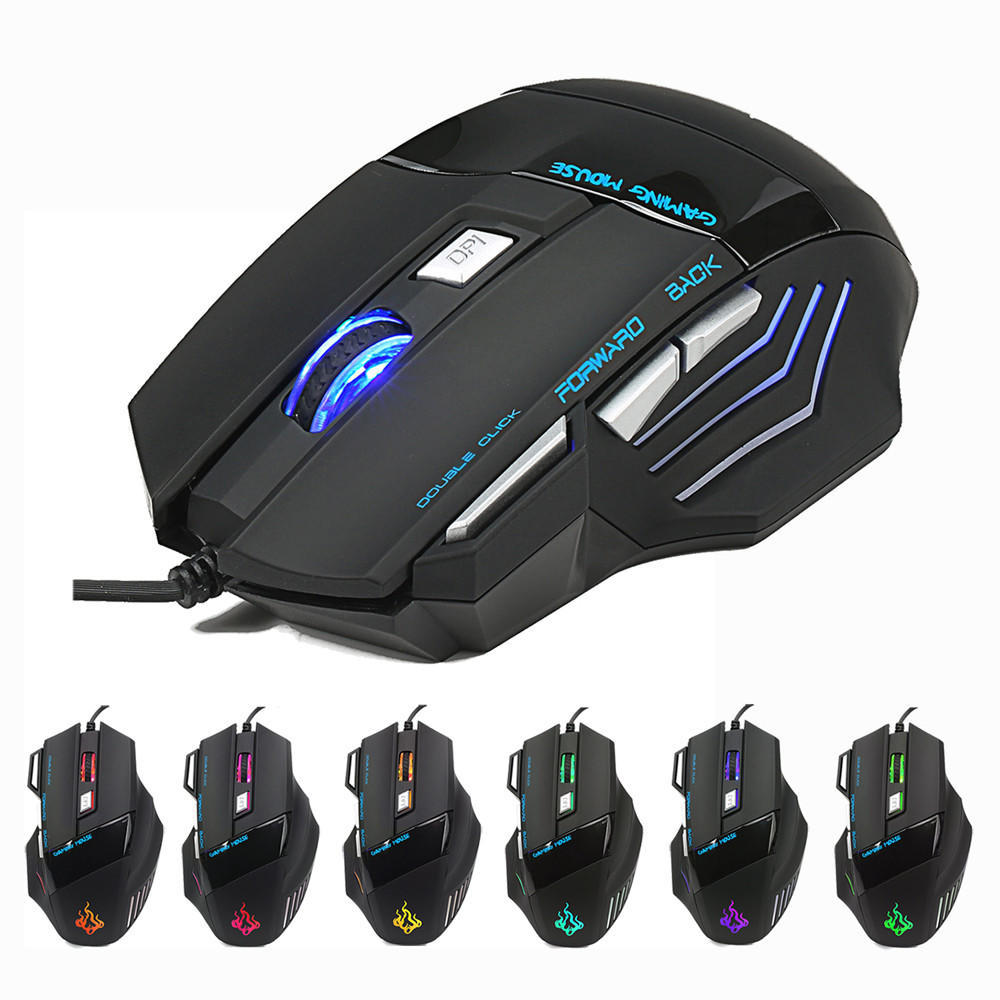 10 Buttons RGB Breath LED Light Esports Gaming Mice 4800 DPI Optical USB Ergonomic Wired Professional Gaming Mouse Programmable,White