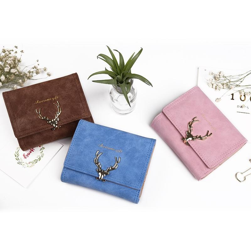 0560fd9e59509 Jeleń kobiety kształt worków monet składane VintageTri Luxury pole skórzany  portfel dziewczyna torba małe sprzęgła czarny - kupić w niskich cenach w  sklepie ...