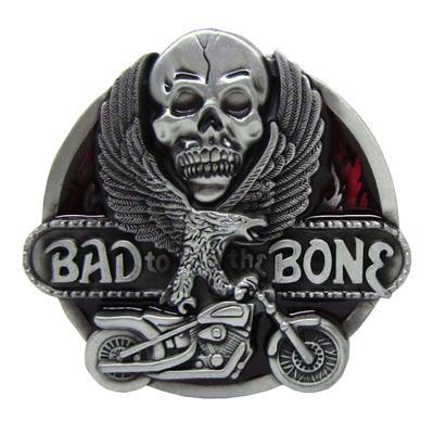 Mixed Styles Skeleton Ghost Head Flower Pattern Hip Hop Motorcycle Belt Buckle
