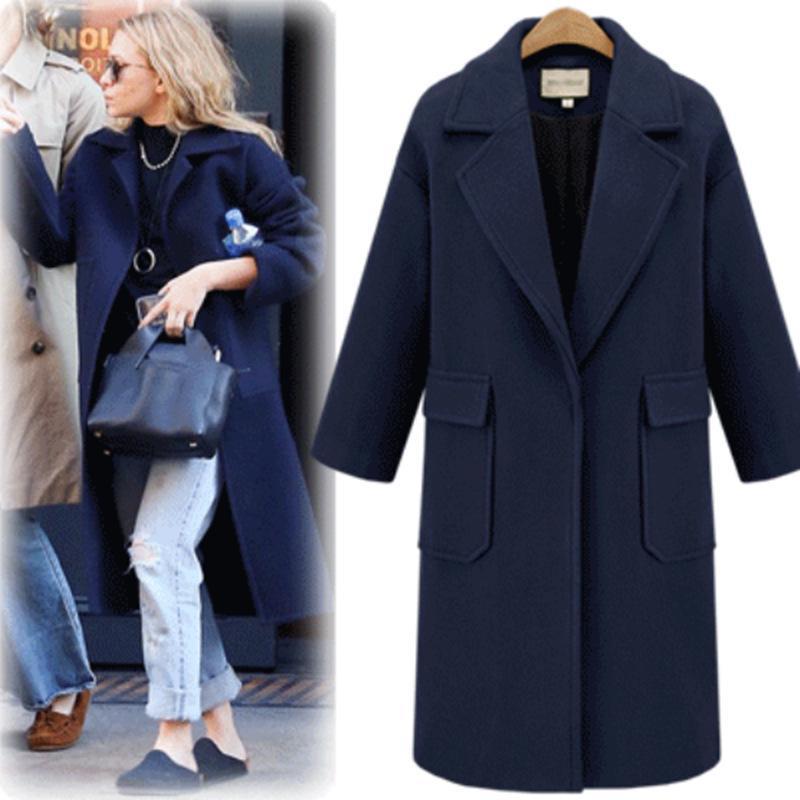 Женщины Теплый Куртка Осень и Зима Случайные Loose Длинный рукав Лапель женский большой размер шерстяного пальто – купить по низким ценам в интернет-магазине Joom