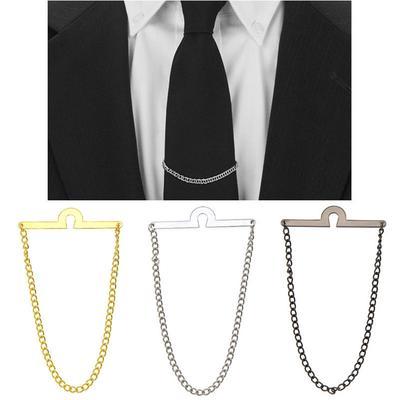 Stylish Men Silver Gold Shirt Collar Clip Bar Pin Clip Chain Tie Brooch Neckties