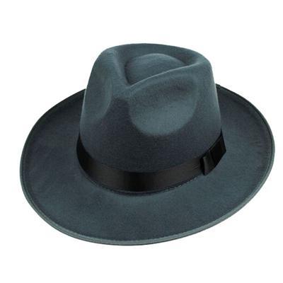 7311f773c50 Unisex Vintage Black Gray Brown Wool Wide Brim Fedora Hat Men Chapeau Jazz Felt  Women Cap