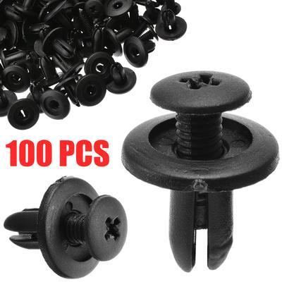 100Pcs 7mm Dia Gray Plastic Rivet Push Type Door Bumper Fastener for Car Vehicle
